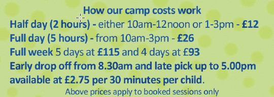 Our camp session costs including early drop off and late pick up