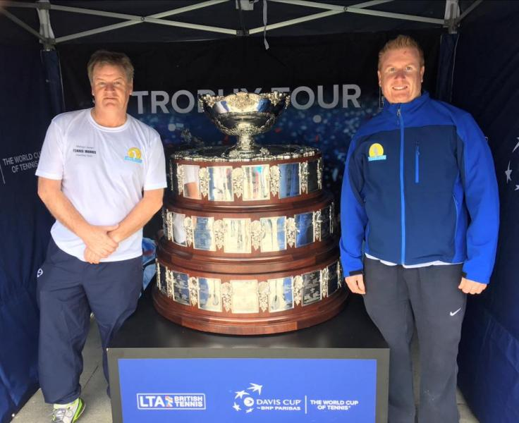 Melvyn Jones and John Cavill with the Davis Cup Trophy